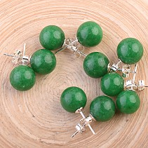 Mineral green (colored) balls earrings 10 mm Ag puzeta