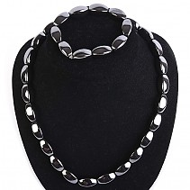 Gift set jewelry hematite bracelet, necklace 50 cm +