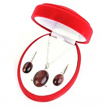 Gift set jewelry bull's eye oval cabochons Ag 925/1000