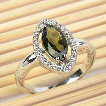 Moldavite tear ring with cubic zirconia standard cut 925/1000 Ag + Rh