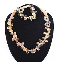 Gift set of jewelry citrine bracelet, necklace 48 cm +