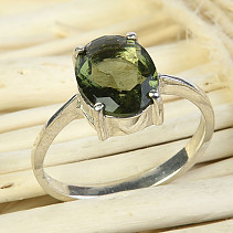 Ring with moldavite oval 10 x 8mm checker top grindstone Ag 925/1000