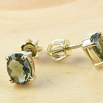 Moldavite gold earrings with 1.39 g Au 585/1000 14K