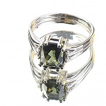 Moldavite rectangle ring with cubic zirconia standard cut 925/1000 Ag Rh
