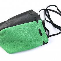 Pouch of leather greenish-black