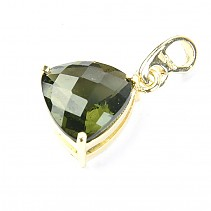 Moldavite trine pendant checker top cut 14K gold Au 585/1000 2,53 g
