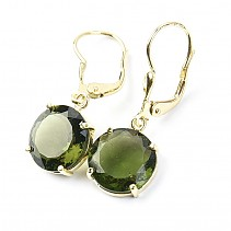 Moldavite gold earrings with 4,93 g Au 585/1000 14K