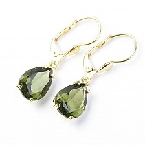 Gold earrings with moldavite drop of 3,58 g Au 585/1000 14K