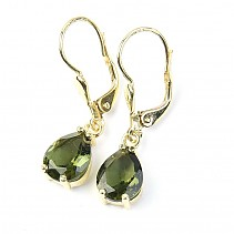 Gold earrings with moldavite drop of 2.89g Au 585/1000 14K