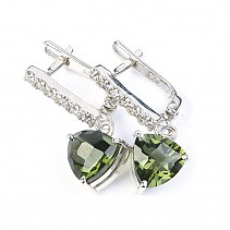 Moldavite and zirconia earrings trine 8 x 8mm checker top cut 925/1000 Ag + Rh