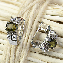 Moldavite earrings with cubic zirconia 5x7mm Ag 925/1000 Rh