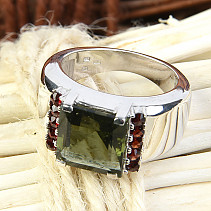 Moldavite garnet ring and a square 10 x 10 mm standard cut 925/1000 Ag + Rh