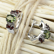 Moldavite earrings with garnet 5x7mm Ag 925/1000 Rh
