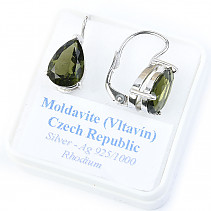 Moldavite drop earrings 11 x 8mm standard cut 925/1000 Ag + Rh