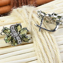 Moldavite flower earrings with cubic zirconia 6x4m Ag 925/1000 Rh