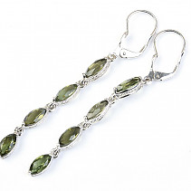 Moldavite earrings 62 mm Ag 925/1000 Rh