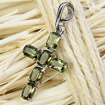 Cross pendant with cut moldavites 6x4m standard Ag 925/1000 Rh +
