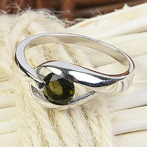 Moldavite ring 5 mm standard cut 925/1000 Ag + Rh