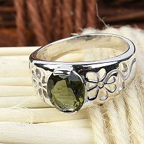Moldavite ring decorated with flowers oval 9 x 7 mm standard cut 925/1000 Ag Rh