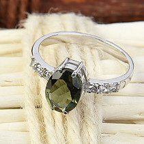 Moldavite ring and zircon oval 9 x 7 mm standard cut 925/1000 Ag Rh