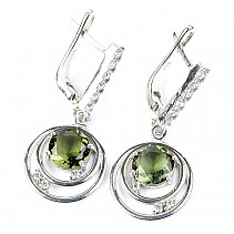 Moldavite earrings with cubic zirconia 7 mm 925/1000 Ag + Rh