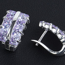 Earrings with zircons mauve Ag 925/1000