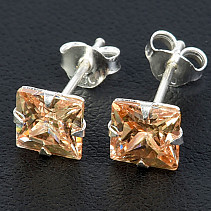 Earrings with cubic zirconia gold square Ag 925/1000 6 mm
