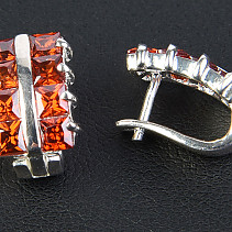 Ladies earrings with red zircon Ag 925/1000