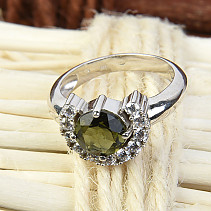 Moldavite ring with cubic zirconia 7 mm standard cut 925/1000 Ag Rh