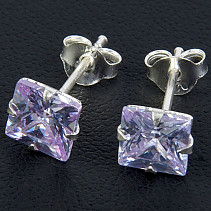 Earrings with zircons lilac 6 mm square Ag 925/1000
