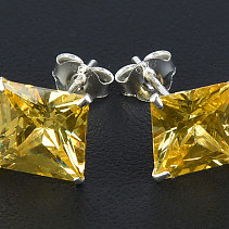 Earrings zircon yellow Ag 925/1000 8 mm square