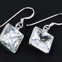 Silver earrings zircon square Ag 925/1000
