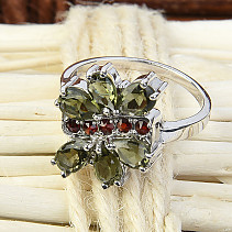 Moldavite and garnets flower ring Ag 925/1000 standard cut Rh