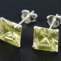 Zirconia earrings light green Ag 925/1000 8 mm square