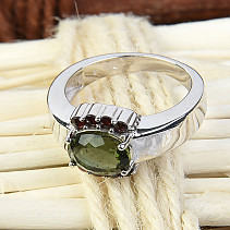 Moldavite ring with garnets 9 x 7 mm standard cut 925/1000 Ag Rh