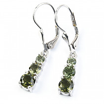 Moldavite pendant earrings 3.4 and 5 mm standard cut 925/1000 Ag + Rh