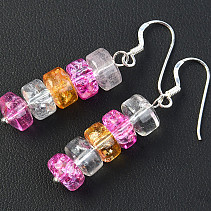 Crystal earrings Buttonky colored hooks Ag
