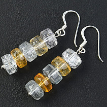 Buttonky colored earrings crystal Ag hooks