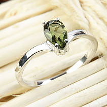 Moldavite ring drop of 8 x 5 mm standard cut 925/1000 Ag + Rh