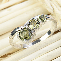 Moldavite ring 3.4 and 5 mm standard cut 925/1000 Ag + Rh