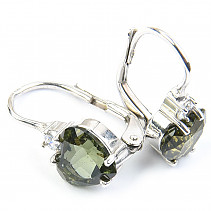 Moldavite and zircon heart earrings 7 x 7 mm 925/1000 Ag + Rh
