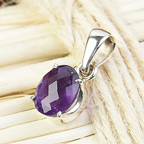 Amethyst pendant facet oval Ag 925/1000