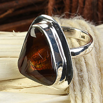 Fiery agate ring Ag 925/1000 9.01 g vel.58