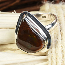 Fiery agate ring Ag 925/1000 6.44 g vel.54