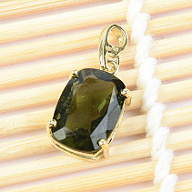 Moldavite pendant standard rectangle cut 2,13 g Au 585/1000 14K