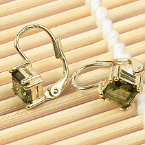 Gold earrings Moldavit srandard cut diamond 14K 2.22 g Au 585/1000