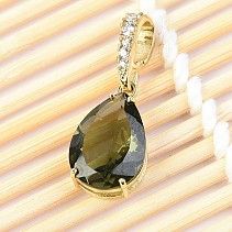 Moldavite drop pendant with zircon standard cut 2.34 g gold Au 585/1000 14K