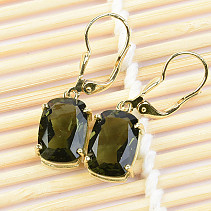 Gold earrings with moldavites standard rectangle cut 4,13 g Au 585/1000 14K