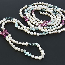 Necklace long pearls mix color