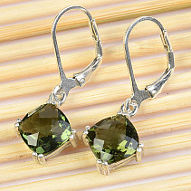 Moldavite pendant earrings diamond 8 x 8mm checker top Ag 925/1000